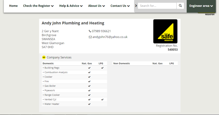 Andy John Gas Safe Register 1