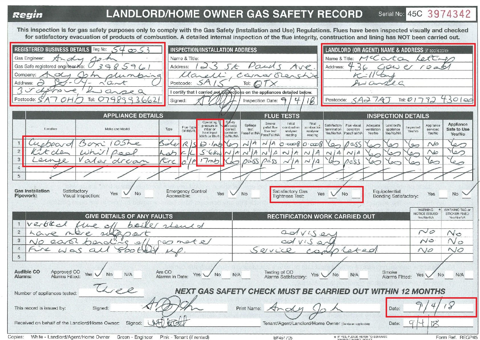 Gas Safety Certificate by Andy John